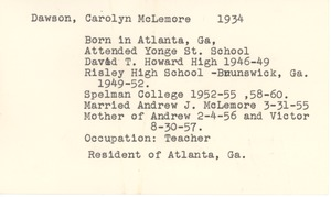 First page of Student family histories: McLemore, Carolyn Dawson (Wheeler, Howard, Culver)