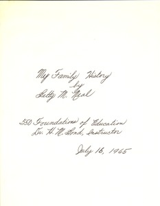 First page of Student family histories: Neal, Betty (Mathis, Porter, Scott)