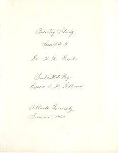 First page of Student family histories: Williams, Bessie Herbert (Boone)