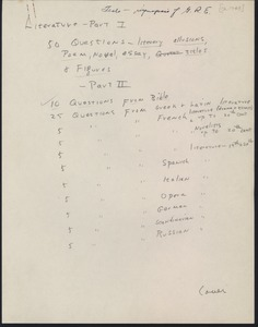 First page of Graduate Record Examinations, miscellaneous