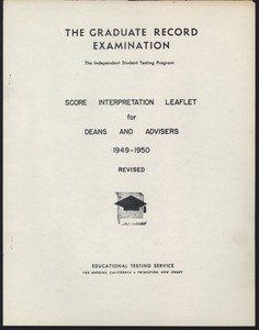 First page of Graduate Record Examinations, printed material