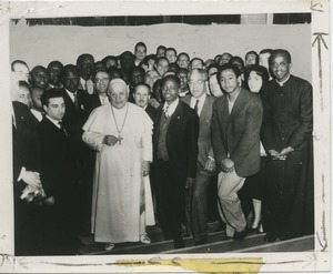First page of Horace Mann Bond with Pope John XXIII and participants of 2nd World Congress of Black Writers and Artists