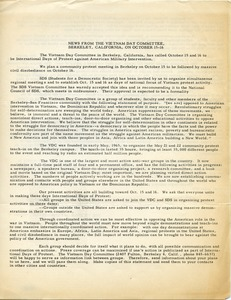 Thumbnail of News from the Vietnam Day Committee