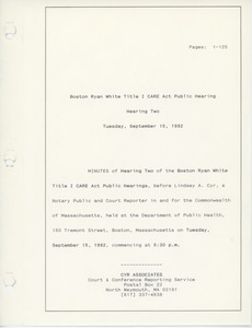 Thumbnail of Boston Ryan White title I CARE act public hearing Hearing two