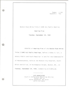 Thumbnail of Boston Ryan White title I CARE act public hearing Hearing five