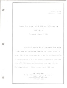 Thumbnail of Boston Ryan White title I CARE act public hearing Hearing six