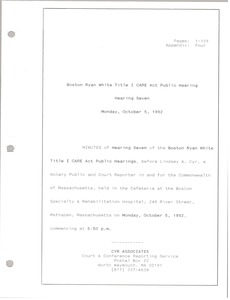 Thumbnail of Boston Ryan White title I CARE act public hearing Hearing seven