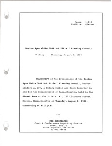 Thumbnail of Boston Ryan White CARE Act Title I Planning Council Meeting