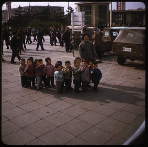 Thumbnail of Children at the railroad station Group of very young children with teacher