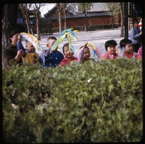 Thumbnail of Pei Hai school Children waving streamers from behind a hedge
