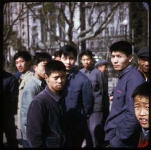 Thumbnail of People at Shanghai quay Crowd of young men, possibly dockworkers