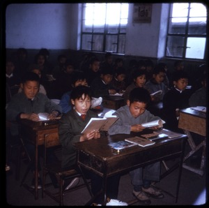 Thumbnail of Primary school Primary school students seated at desks, reading from their books