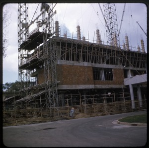 Thumbnail of Construction at Fair site Scaffolding on the exterior of a brick building under construction