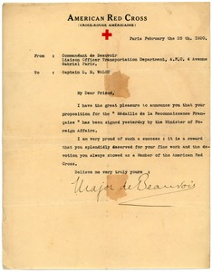 Thumbnail of Letter from Commander of Beauvoir to Lloyd E. Walsh