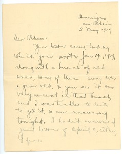 Thumbnail of Letter from Lloyd S. Belville to Rhea Oppenheimer