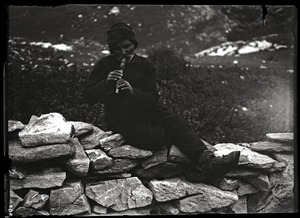 Thumbnail of Shepherd playing the flute: a Greek from Galichnik