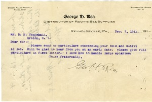 Thumbnail of Letter from George H. Rea to D. H. Coggeshall