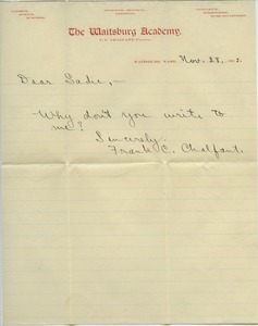 Thumbnail of Letter from Frank C. Chalfant to Sadie Kessel