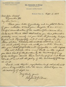 Thumbnail of Letter from Wayland Johnson Chase to Sarah Kessel