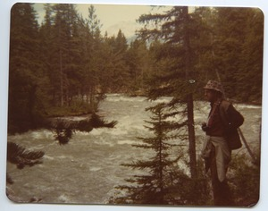 Thumbnail of Ken Irey alongside the Maligne River