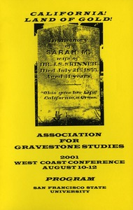 Thumbnail of The  Association for Gravestone Studies, Second West Coast conference San Francisco State University, August 10-12, 2001