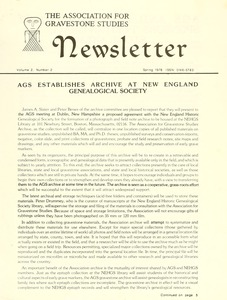 Thumbnail of Newsletter of the Association for Gravestone Studies Vol. 2, no. 2 Spring