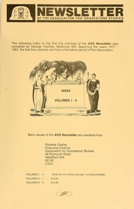 Thumbnail of Newsletter of the Association for Gravestone Studies: Index to Vols. 1-5