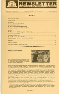 Thumbnail of Newsletter of the Association for Gravestone Studies Vol. 8, no. 2 Spring