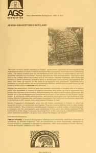 Thumbnail of Newsletter of the Association for Gravestone Studies Vol. 9, no. 2 (part 2) Spring