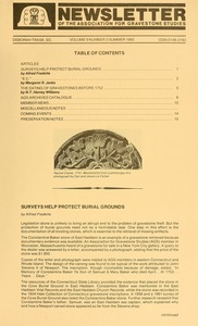 Thumbnail of Newsletter of the Association for Gravestone Studies Vol. 9, no. 3 Summer