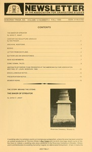 Thumbnail of Newsletter of the Association for Gravestone Studies Vol. 12, no. 4 Fall