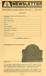 Thumbnail of Newsletter of the Association for Gravestone Studies Vol. 13, no. 2 Spring