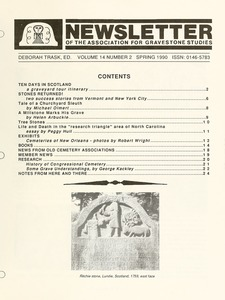 Thumbnail of Newsletter of the Association for Gravestone Studies Vol. 14, no. 2 Spring