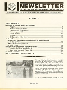 Thumbnail of Newsletter of the Association for Gravestone Studies Vol. 15, no. 3 Summer