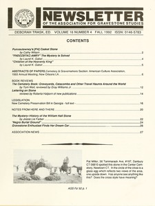 Thumbnail of Newsletter of the Association for Gravestone Studies Vol. 16, no. 4 Fall