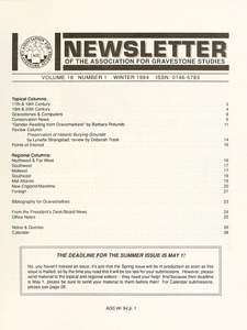 Thumbnail of Newsletter of the Association for Gravestone Studies Vol. 18, no. 1 Winter