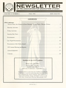 Thumbnail of Newsletter of the Association for Gravestone Studies Vol. 18, no. 4 Fall