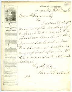Thumbnail of Letter from Samuel Sinclair to Amos Adams Lawrence
