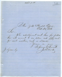 Thumbnail of Letter from the New York Herald to Joseph Lyman