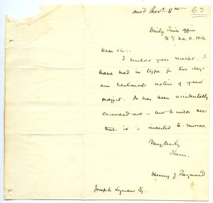 Thumbnail of Letter from Henry J. Raymond to Joseph Lyman