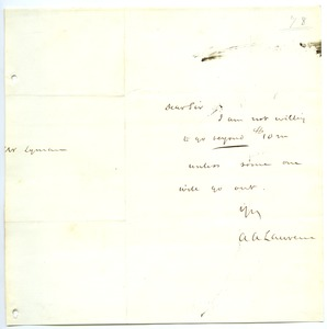 Thumbnail of Letter from Amos Adams Lawrence to Joseph Lyman