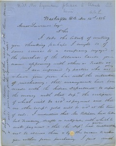 Thumbnail of Letter from Henry Kellogg to Amos Adams Lawrence
