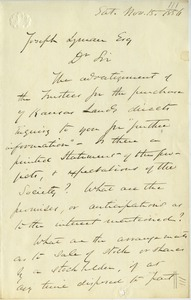 Thumbnail of Letter from H. P. Curtis to Joseph Lyman