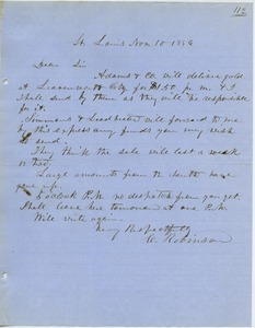 Thumbnail of Letter from Charles Robinson to unidentified correspondent