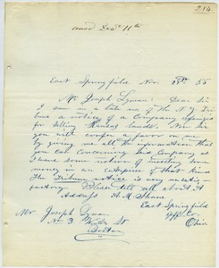 Thumbnail of Letter from A. M. Shane to Joseph Lyman