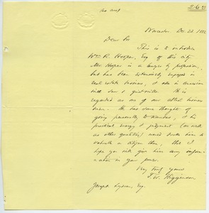 Thumbnail of Letter from Thomas Wentworth Higginson to Joseph Lyman