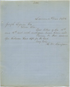 Thumbnail of Letter from H. M. Simpson to Joseph Lyman