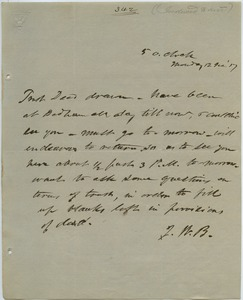 Thumbnail of Letter from J. W. B. to unidentified correspondent
