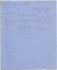 Thumbnail of Letter from J. E. Carver to Joseph Lyman