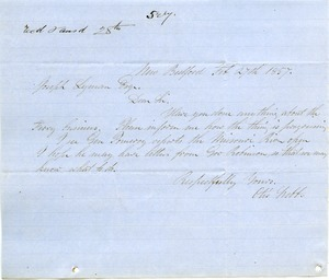 Thumbnail of Letter from Otis Webb to Joseph Lyman